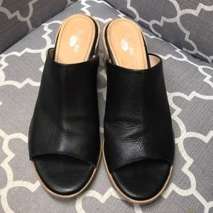 Dr. Scholl's Shoes - Gorgeous, black, slide on sandal with hill.
